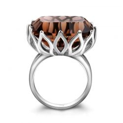 Large 23 ct Genuine Smoky Quartz 925 Sterling Silver Rings for Women