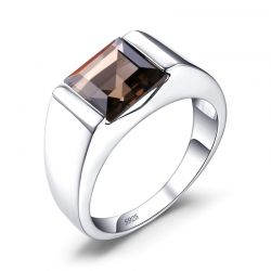 Genuine Smoky Quartz Ring 925 Sterling Silver Rings for men
