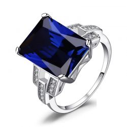 9ct Created Blue Sapphire Ring 925 Sterling Silver Rings for Women