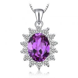 Created Alexandrite Sapphire Pendant 925 Sterling Silver