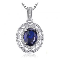 Created Sapphire Pendant 925 Sterling Silver Gemstones