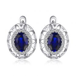 2ct Created Blue Sapphire Hoop Earrings 925 Sterling Silver