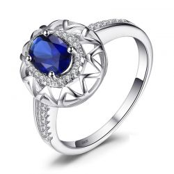 925 Sterling Silver Created Sapphire Ring for Women