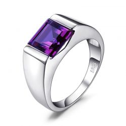 Men's Square 3.3ct Created Alexandrite Sapphire 925 Sterling Sliver Ring