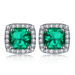 Created Nano Emerald Stud Earrings 925 Sterling Silver Earrings For Women