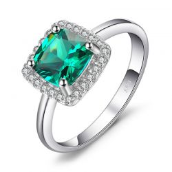 Simulated Nano Emerald Ring 925 Sterling Silver Rings for Women