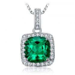 3ct Simulated Nano Emerald Pendant 925 Sterling Silver