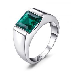 Simulated Nano Emerald 925 Sterling Silver Rings for men