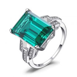 5.9ct Created Nano Emerald 925 Sterling Silver Rings for Women