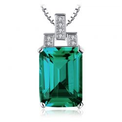 Simulated Nano Emerald Pendant 925 Sterling Silver