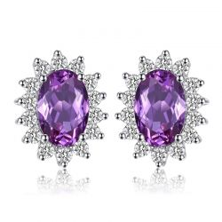 Created Alexandrite Sapphire Stud Earrings 925 Sterling Silver