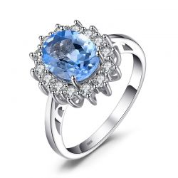 925 Sterling Silver Fine Jewelry2.3ct Natural Blue Topaz