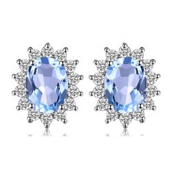 Genuine Blue Topaz Stud Earrings 925 Sterling Silver