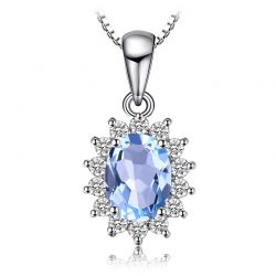 Natural Blue Topaz Pendant Necklace 925 Sterling Silver