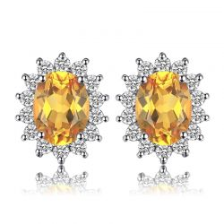 Genuine Citrine Stud 925 Sterling Silver Earrings For Women