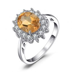 Genuine Citrine Stone 925 Sterling Silver Rings for Women