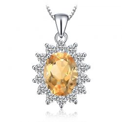 Citrine Pendant Necklace 925 Sterling Silver Gemstones
