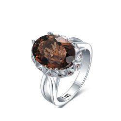 Huge Genuine Smoky Quartz Ring 925 Sterling Silver Rings for Women