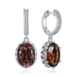 7ct Genuine Smoky Quartz Drop Earrings 925 Sterling Silver
