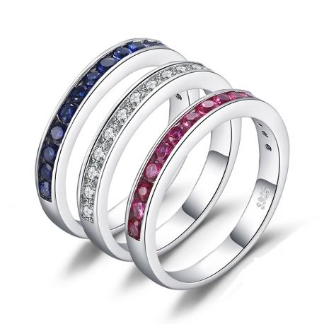 Created Ruby Sapphire  Rings Set 925 Sterling Silver Rings for Women