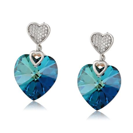 Crystals from SWAROVSKI Rhodium plated  Love symbol Earring