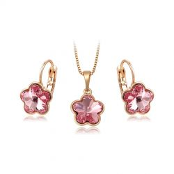Rose color flower ORIGINAL Crystals From Swarovski fashion jewelry