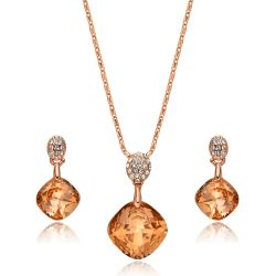 Orange Crystal Geometric Pendant Jewelry Sets For Women