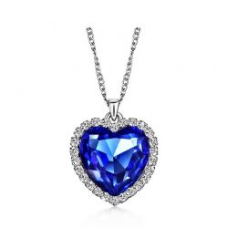 Heart Love Chain Necklaces & Pendants  Austrian Crystal Rhinestones