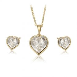 Yellow gold toned Heart shape Original Crystals from Swarovski Set