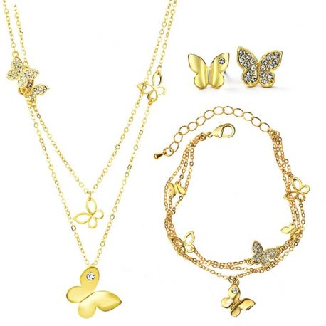 Beautiful Butterfly Yellow Gold Toned  Austrian Crystal Jewelry Set