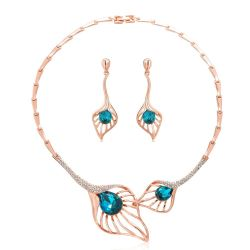 Yellow Gold & Rose Gold Toned Crystal Rhinestone Jewelry Set For women