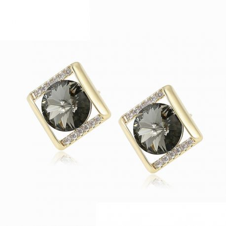 Geometric shape 14K Gold toned  Original Crystals from Swarovski Earrings