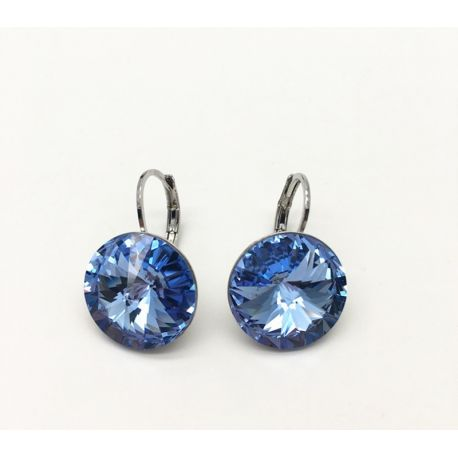 Rhodium Toned  Light Blue Original Crystals from Swarovski Earring
