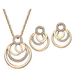 Rose Gold Toned Austria Rhinestone Jewelry Set Necklace & Earrings