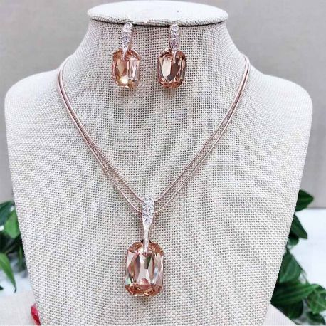 Rose Gold toned Yellow  Square Crystal Jewelry Sets for Women