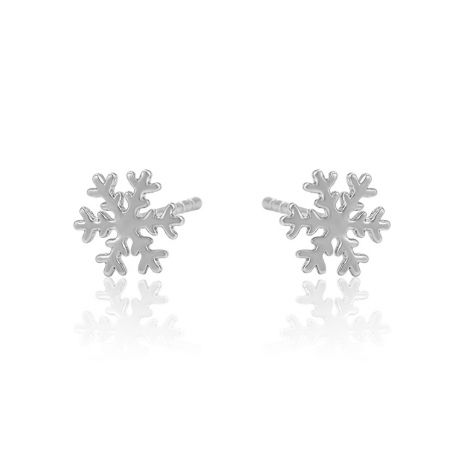 Snow flakes shape Gold and Silver Toned metal stud earrings