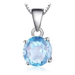 Natural Blue Topaz Pendant Necklace 925 Sterling Silver Gemstones