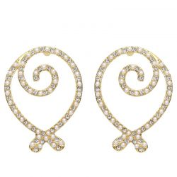 Austrian Rhinestone Simulated Pearl Light Yellow Gold Color Fashion Earrings