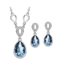 Austria Crystal & Czech Rhinestone Jewelry Set Water Drop Style