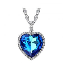 Embellished with Blue Heart Crystals from Swarovski  Titanic Necklace for Valentine