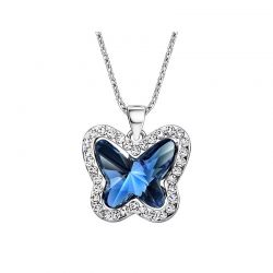 Blue Crystals from Swarovski  Rhinestone Butterfly Pendant Necklace