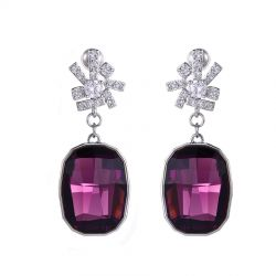 Geometric Dangle Velvet purple  Original Crystals from Swarovski Earring