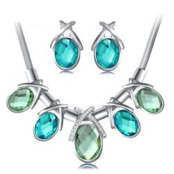Ocean Blue color Rhinestone Crystal For Women Jewelry Sets