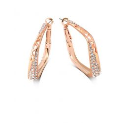 Rose Gold toned Rhinestone Square Hollow Large Hoop Earrings for Women
