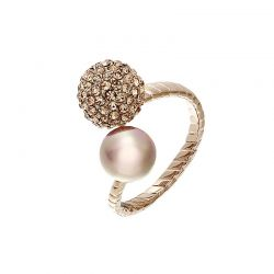 Gold Plated Simulated Pearl Zircon Round Ball Finger Rings