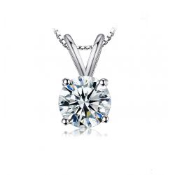 1ct CZ Solitaire Pendant Necklace 925 Sterling Silver