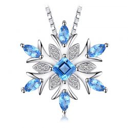 Snowflake Natural Topaz Pendant Necklace 925 Sterling Silver