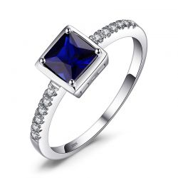 Square Created Blue Sapphire Ring 925 Sterling Silver Rings for Women