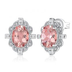 2.7ct Oval Created Morganite Sapphire Stud Earrings 925 Sterling Silver