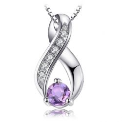 Natural Amethyst Pendant Necklace 925 Sterling Silver